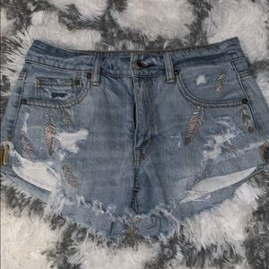 AEO Feather Detail Shorts